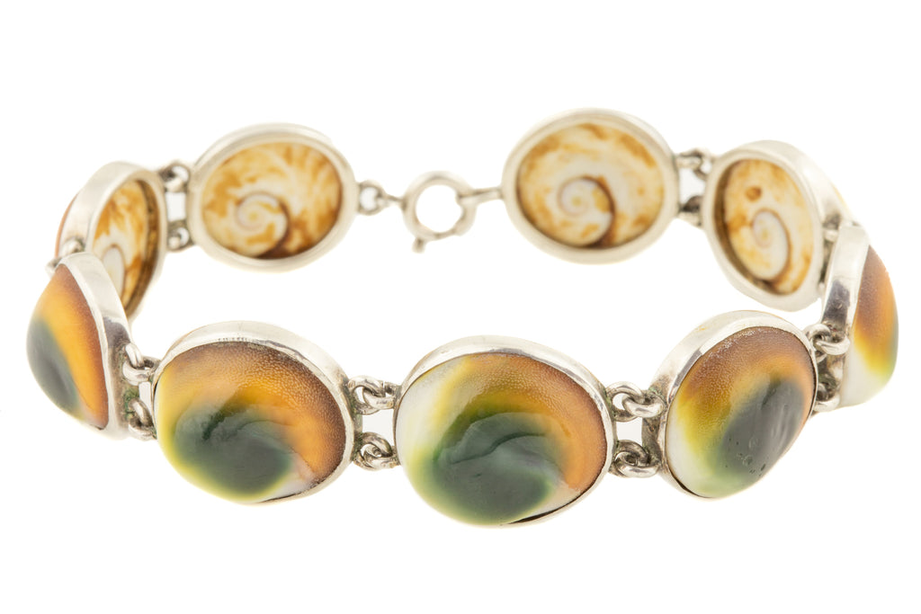 Antique Silver Operculum Shell Bracelet, 7 & 1/2""