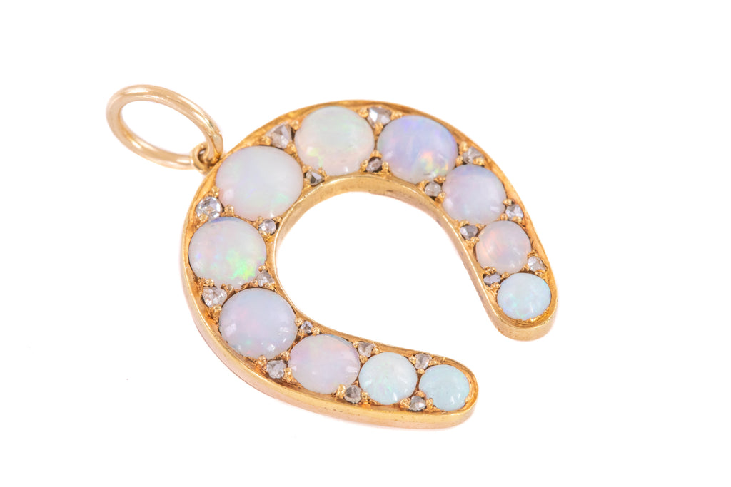 Antique 15ct Gold Opal Diamond Horseshoe Pendant (2.20ct)