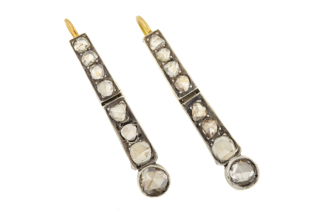 Antique 18ct Gold Silver Rose Cut Diamond Drop Earrings, (1.1ct)