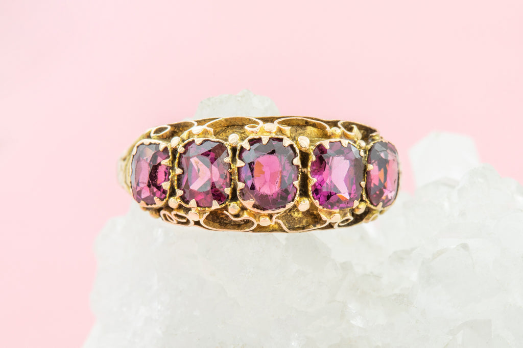 Antique 15ct Gold Garnet Five Stone Ring (1.8ct), c.1872