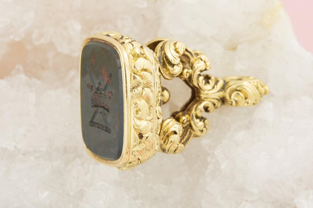 Antique Gold Cased Bloodstone Fob with Military Intaglio