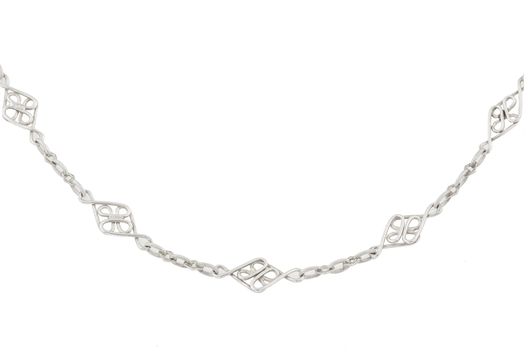 "Antique French Silver Fancy Chain, 57 & 3/4"" (29.3g)"