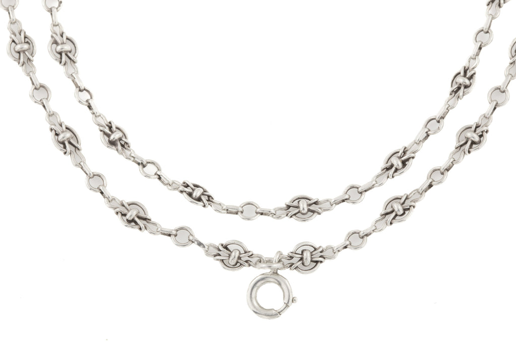 "Antique French Silver Fancy Chain, 55"" (28.7g)"