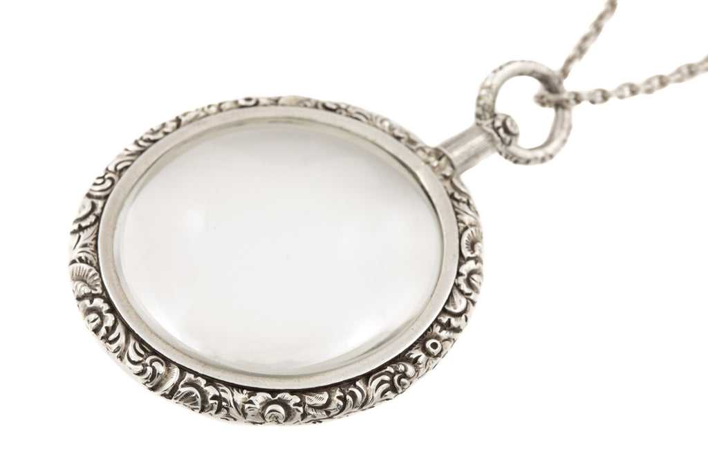 "Antique Silver Magnifying Glass Locket, with 22 & 3/4"" Chain"