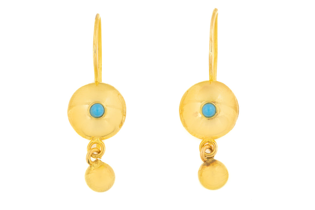 Antique 15ct Gold Turquoise Earrings