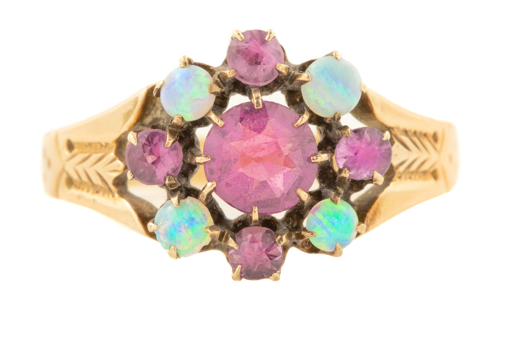 Antique Gold Pink Garnet Opal Cluster Ring