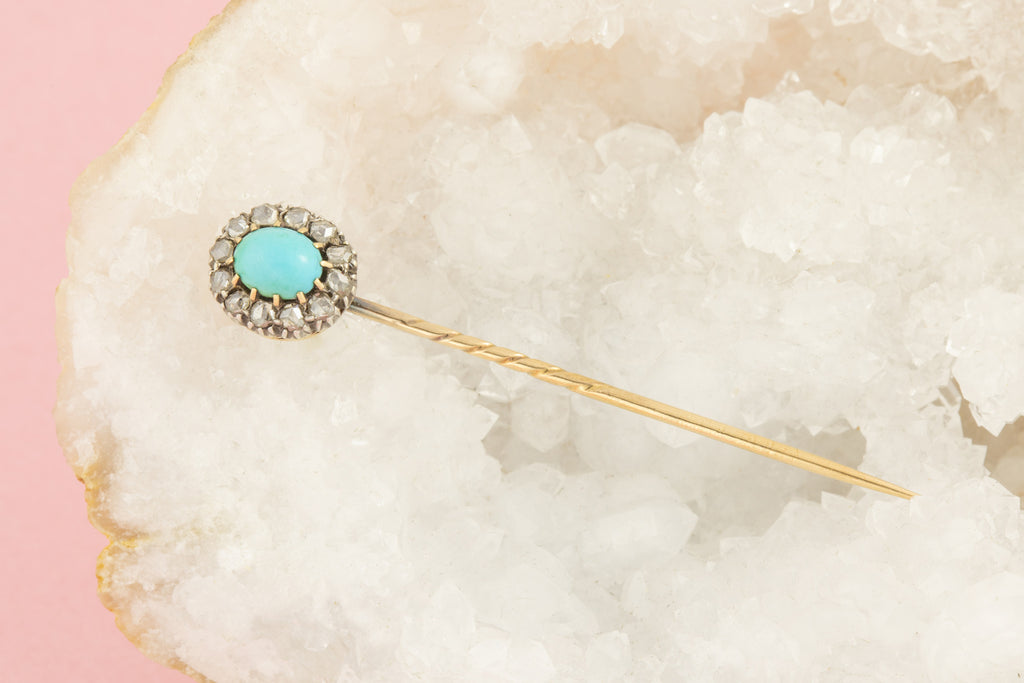 Antique 15ct Gold Turquoise Diamond Cluster Stick Pin with Original Box