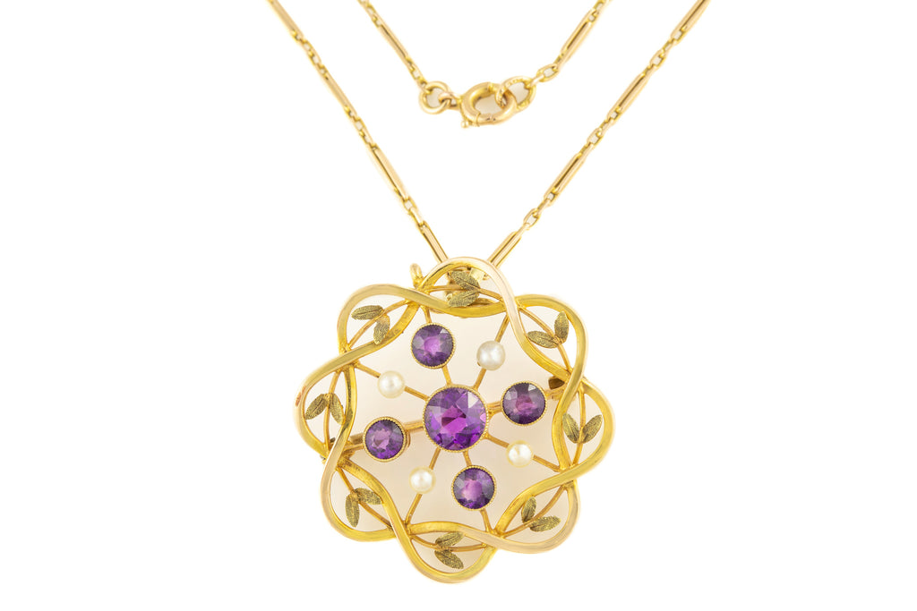 "Art Nouveau 15ct Gold Amethyst Pearl Pendant (1.34ct), with 17"" Chain and Original Box"