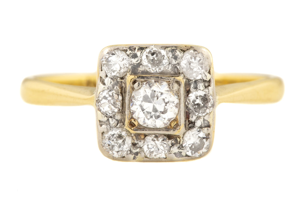 Art Deco 18ct Gold Diamond Engagement Ring, (0.29ct)