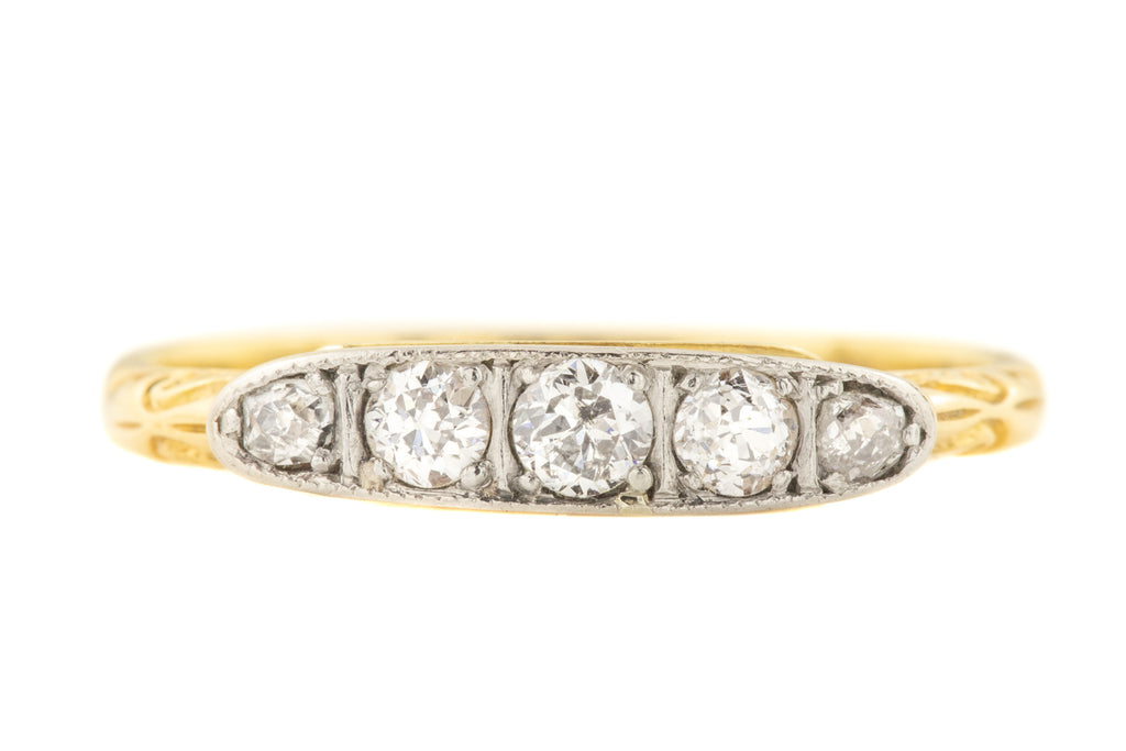 Edwardian 18ct Gold Five Stone Diamond Ring (0.21ct)