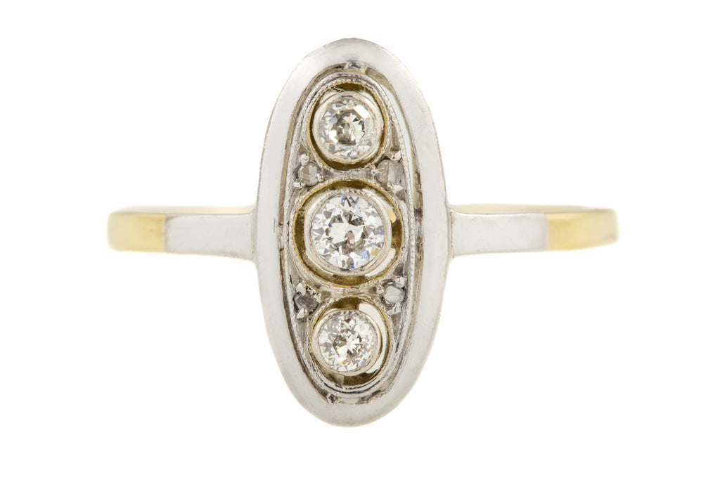 Art Deco 15ct Gold Platinum Diamond Trilogy Ring, (0.20ct)