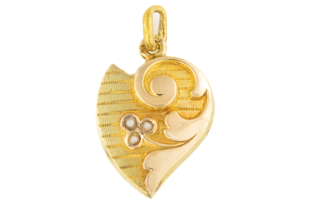 Antique 15ct Gold Witches Heart Pearl Pendant