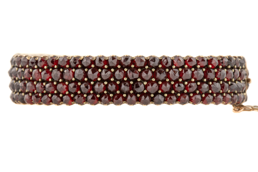 Victorian Rose Cut Garnet Bangle, 6 & 1/4""