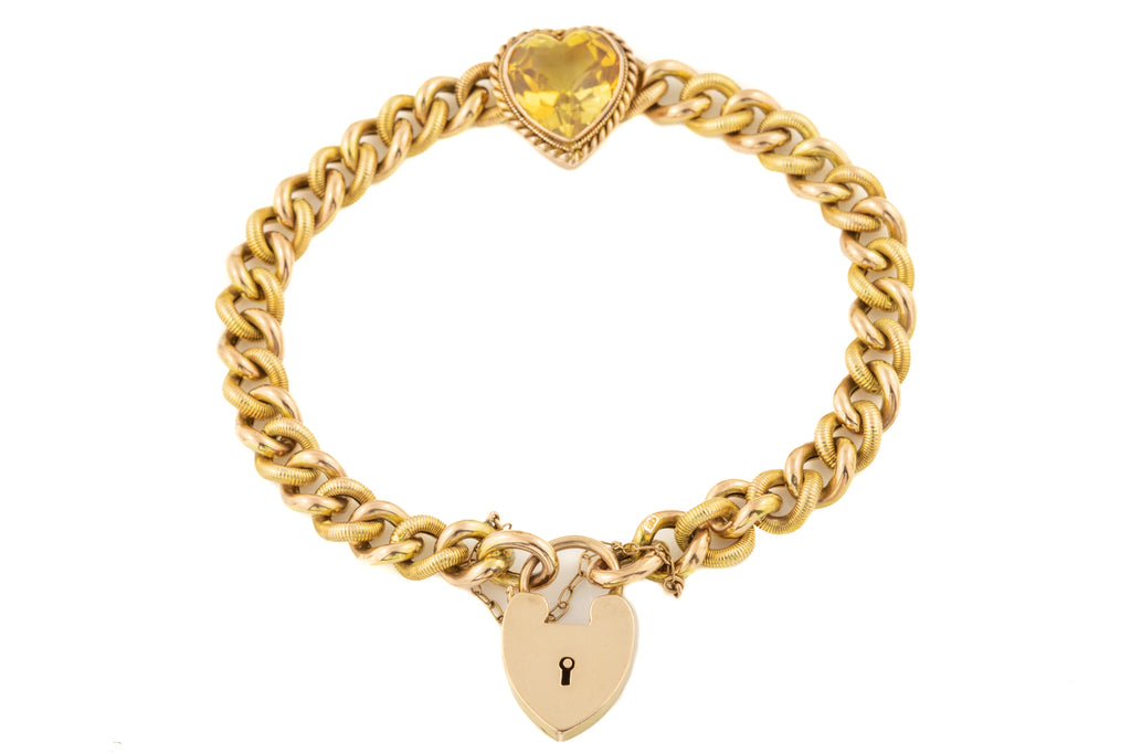Edwardian Gold Padlock Bracelet with Citrine Heart, 8""