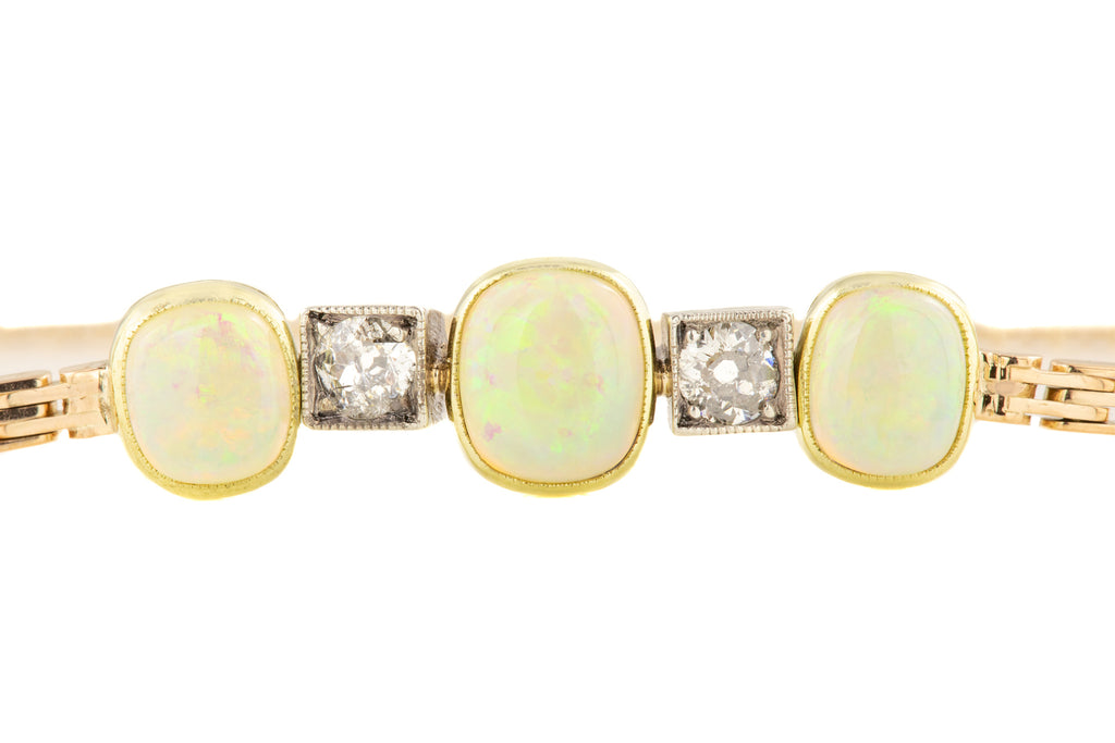 Rare Austro Hungarian 15ct Gold Opal Diamond Bracelet (0.40ct) , 6 & 1/2""