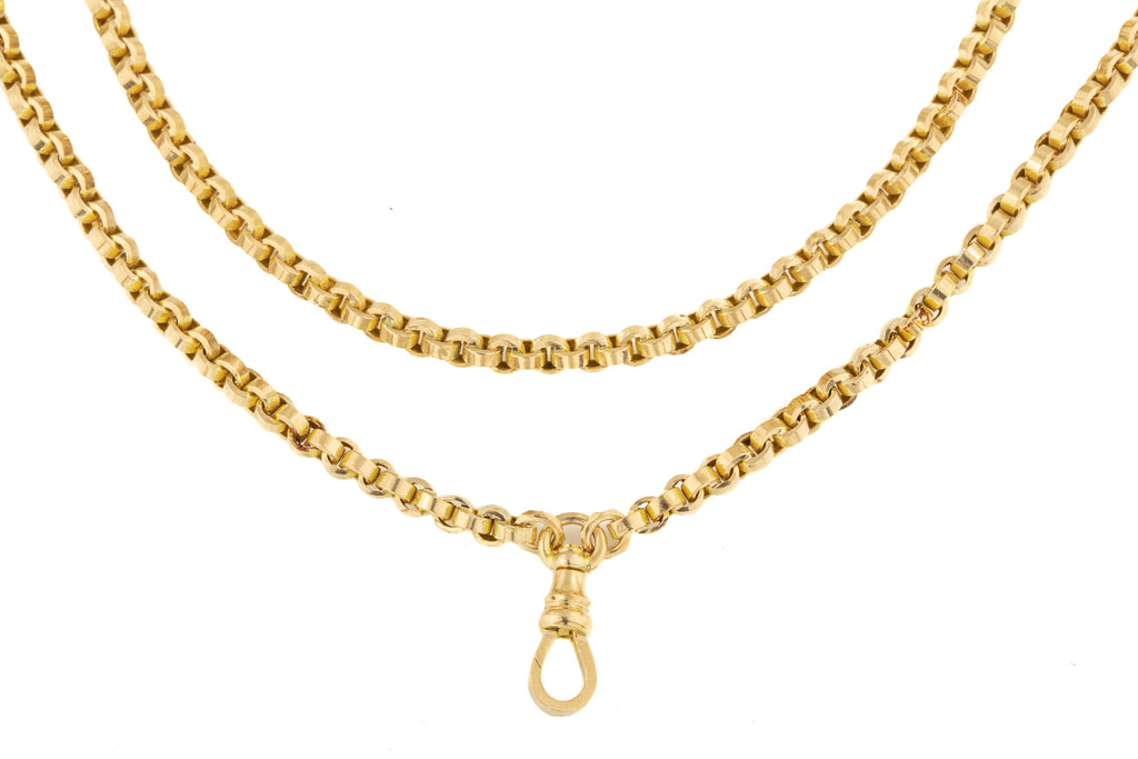 "Antique Chunky Gold Long Guard Chain, 59"" (40g)"