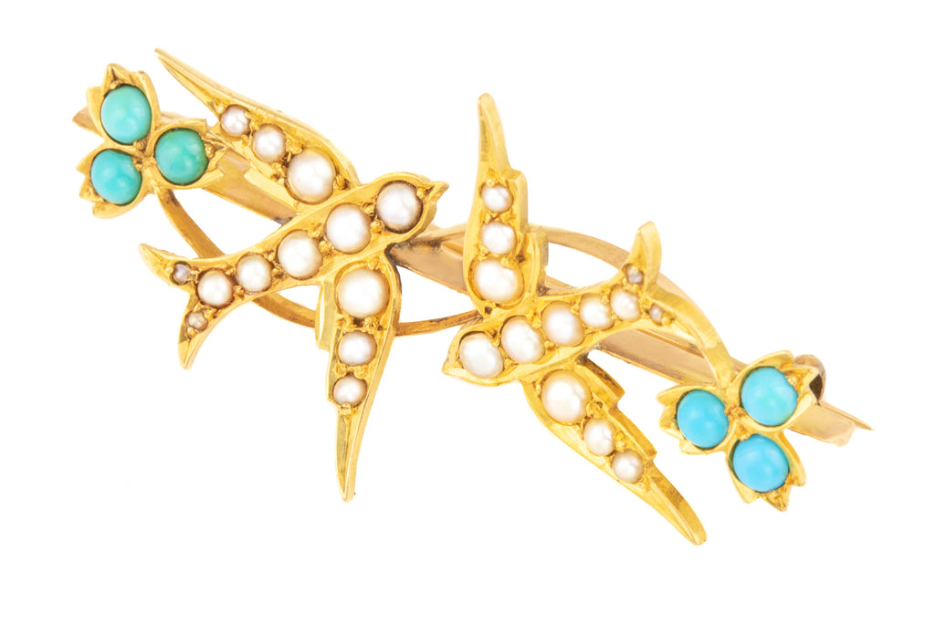 Edwardian 15ct Gold Pearl Turquoise Swallows in Flight Brooch