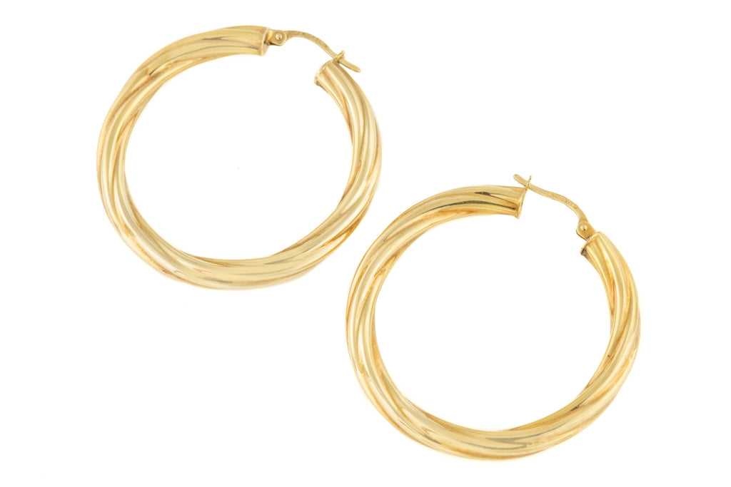 Large Gold Twisted Hoop Earrings (37.6mm)