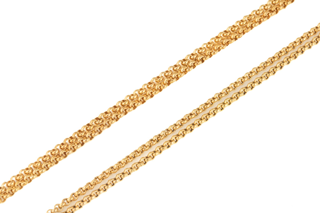 "Antique Rose Gold Long-Guard Chain with Rare Screw Dog Clip, 39"" (16.2g)"