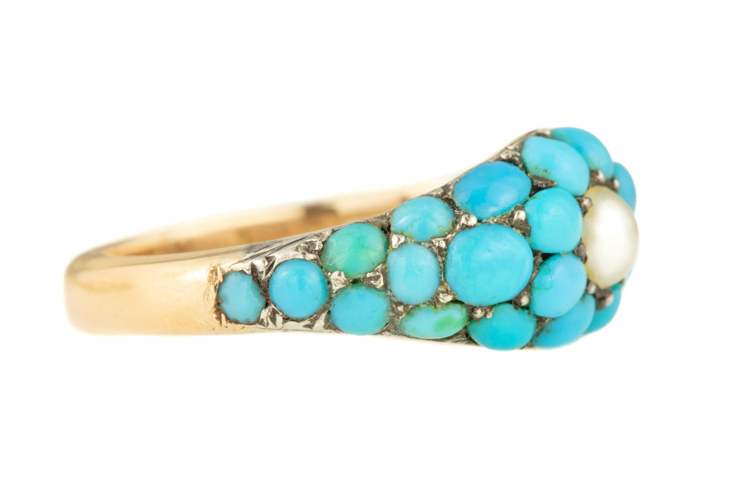 Early Victorian 12ct Gold Turquoise Pearl Pave Ring