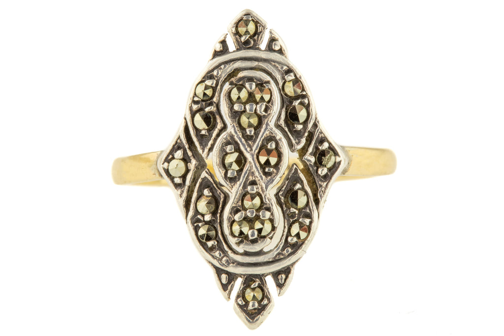 Art Deco Silver Marcasite Dress Ring with 9ct Gold Shank