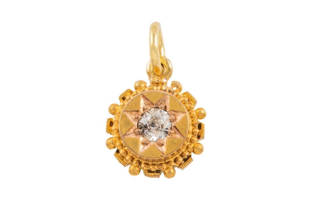"Antique 15ct Gold Diamond ""Star"" Pendant, (0.10ct)"