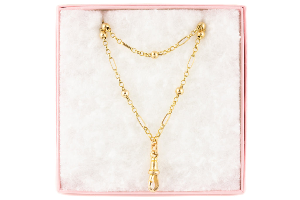 "Antique Gold Ball Link Chain with Dog Clip, 30"" (13.2g)"