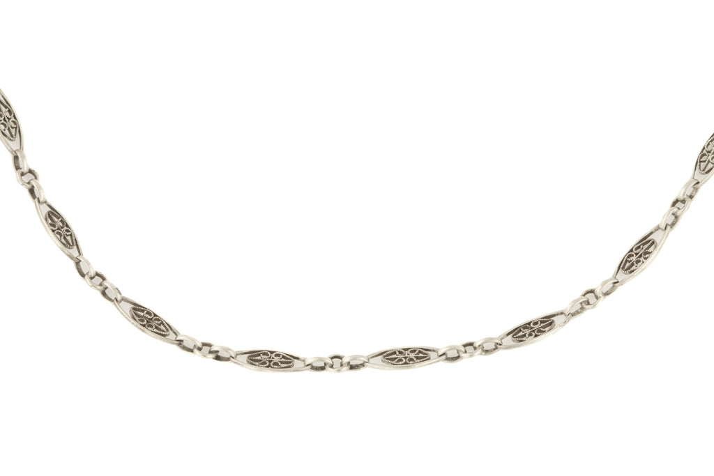 "Antique French Silver Filigree Chain, 58"" (26.1g)"
