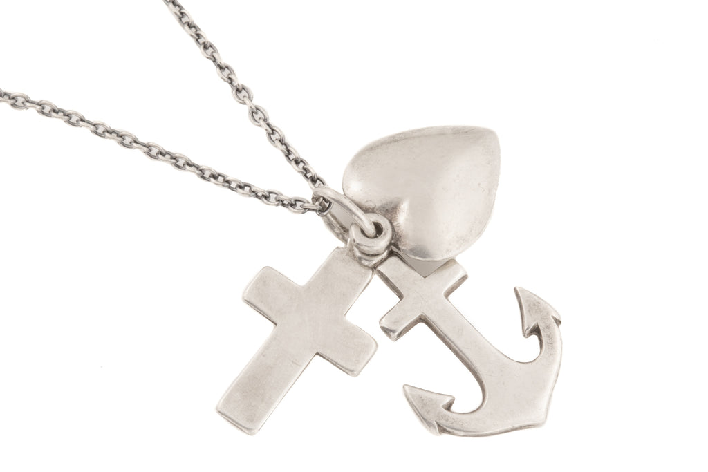 "Danish Silver Faith Hope Charity Pendant, with Adjustable 16"" to 18"" Chain"