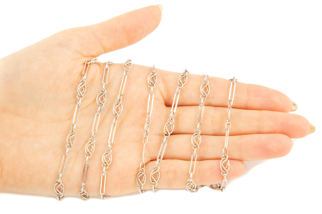 Antique French Silver Long Guard Chain with Large Bolt Ring, 55""