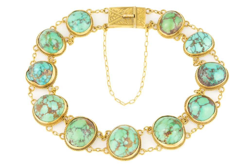 Victorian 15ct Gold Turquoise Bracelet, 6 & 5/8""