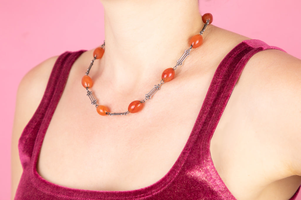 "Arts and Crafts Silver Carnelian Necklace, 17 & 1/2"" (35.2g)"