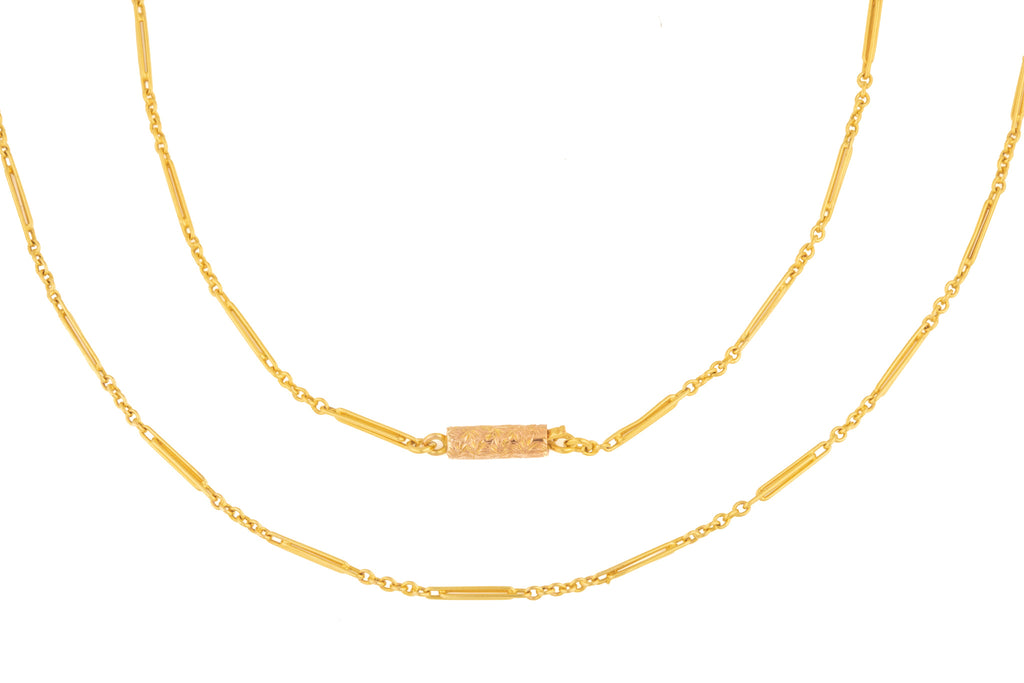 "Antique 15ct Gold Paperclip Chain with Engraved Barrel Clasp, 17"" (2.5g)"
