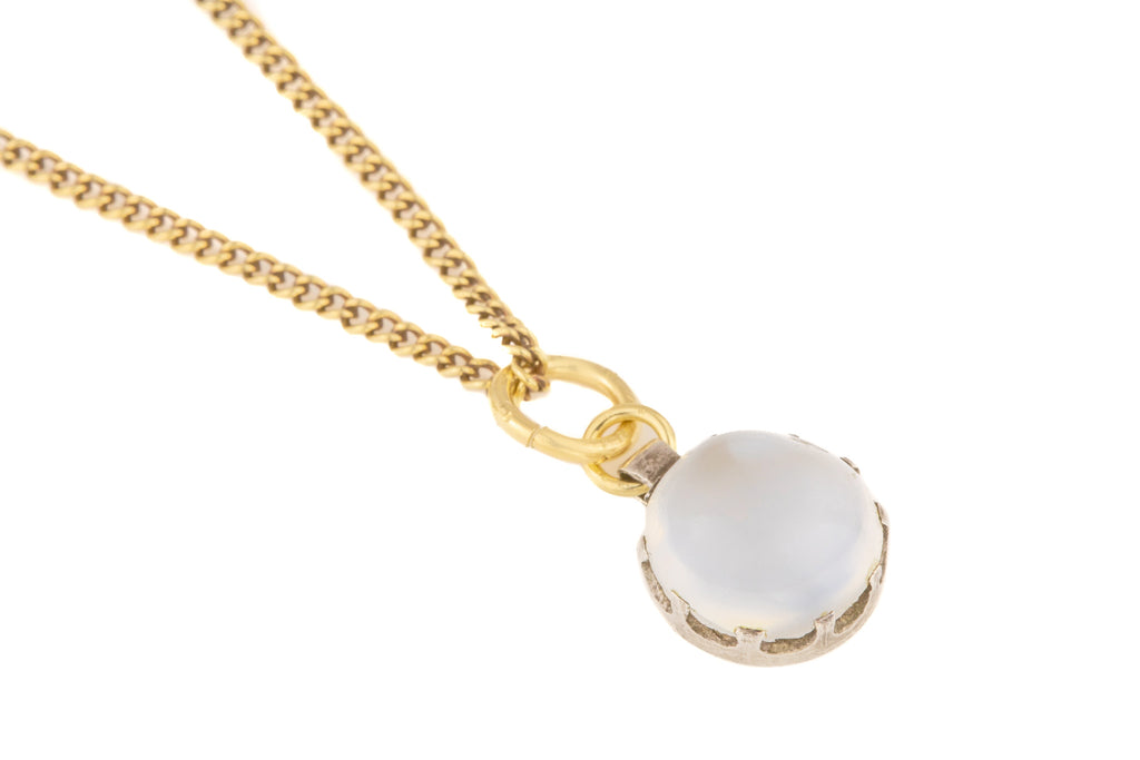 "Antique Silver Moonstone Pendant (1.90ct), with Antique 21"" Gold Chain"
