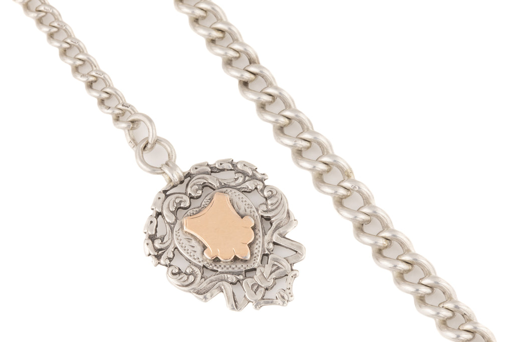 "Edwardian Silver Albert Chain with T-Bar Fob Medal c.1901, 15"" (56.3g)"