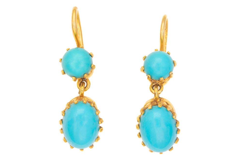 Antique Gold Turquoise Drop Earrings