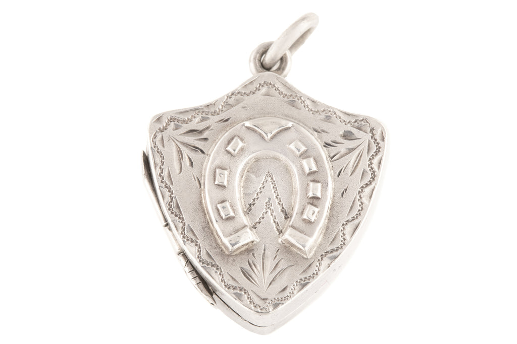 Antique Silver Shield Locket with Horseshoe Motif