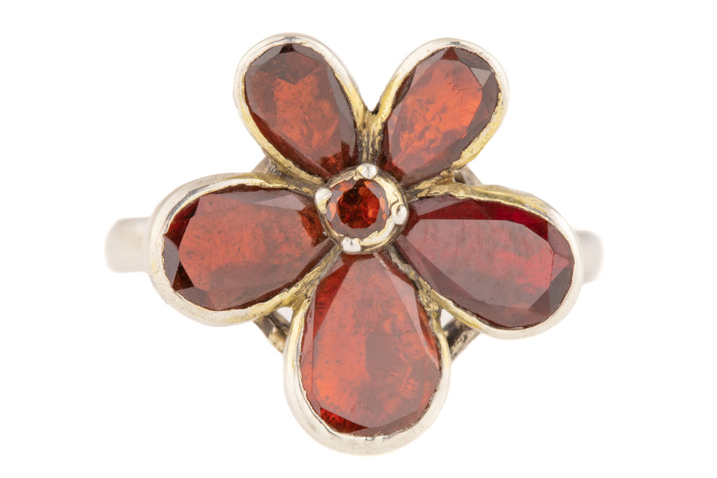 Georgian Flat Cut Garnet Pansy Ring, with Silver Band