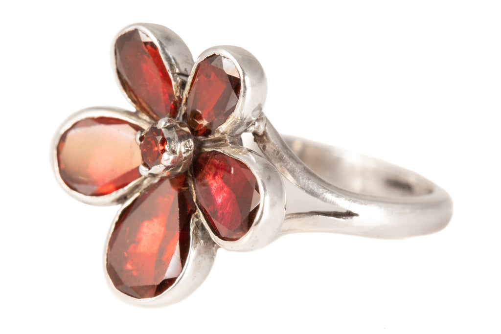 Georgian Silver Flat Cut Garnet Pansy Ring