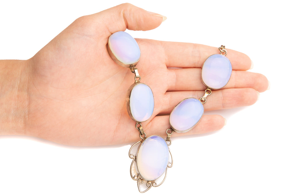 Art Deco Silver Opaline Glass Necklace, 19""