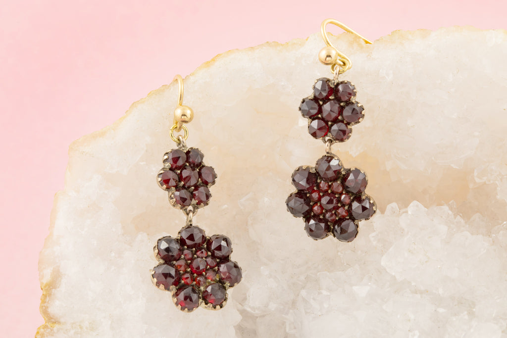 Antique Gold Garnet Cluster Drop Earrings (5.28ct)