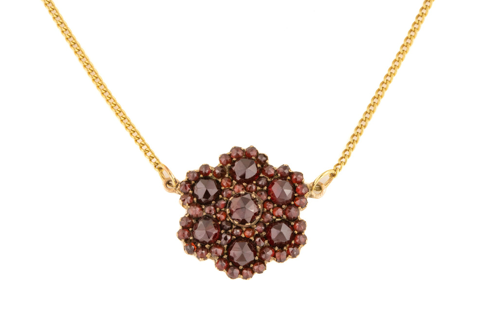 Antique Gold Garnet Flower Necklace (2.77ct), 17 & 1/2""