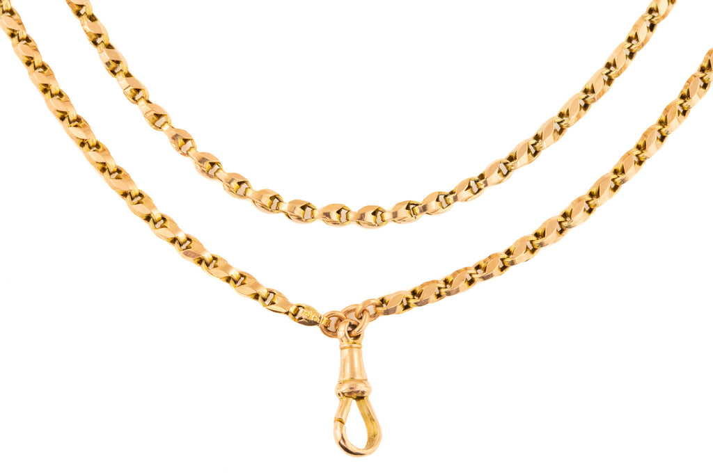 "Antique Gold Chain with Suspended Dog Clip, 26"" (14.2g)"