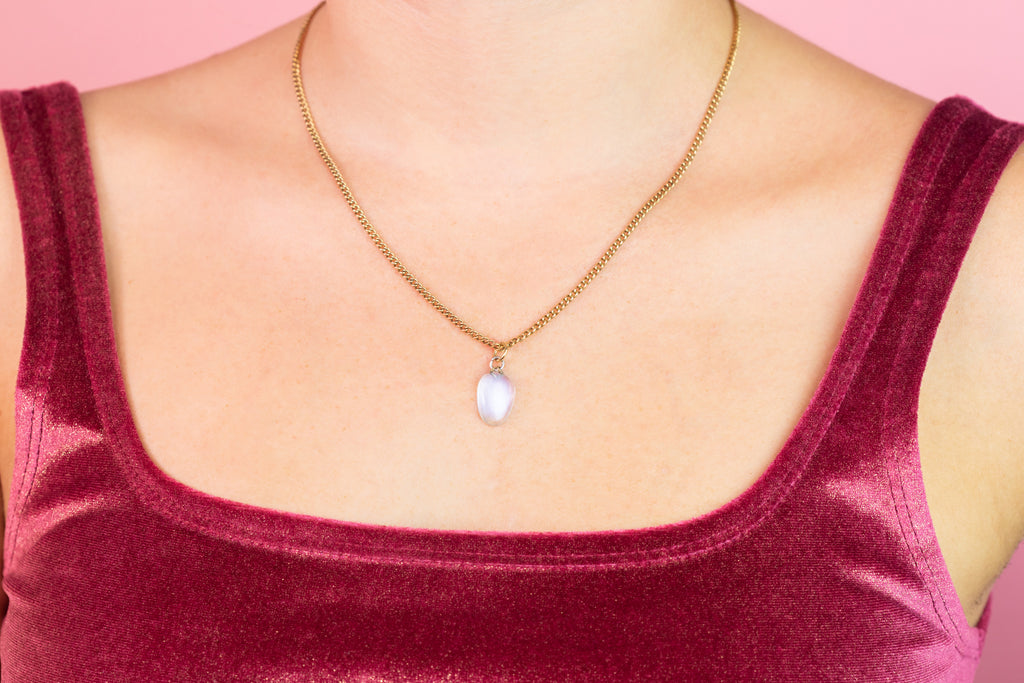 Antique 2.48ct Moonstone Pendant in 18ct Gold and Silver