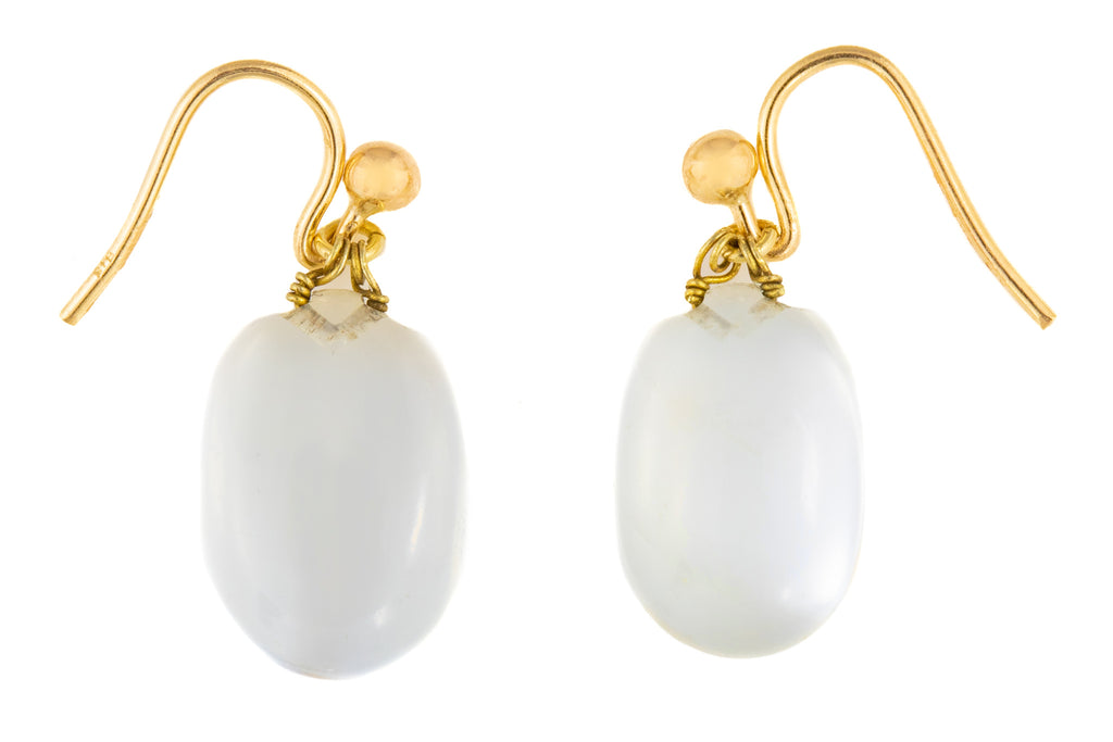 Antique Gold Moonstone Drop Earrings (7.76ct)