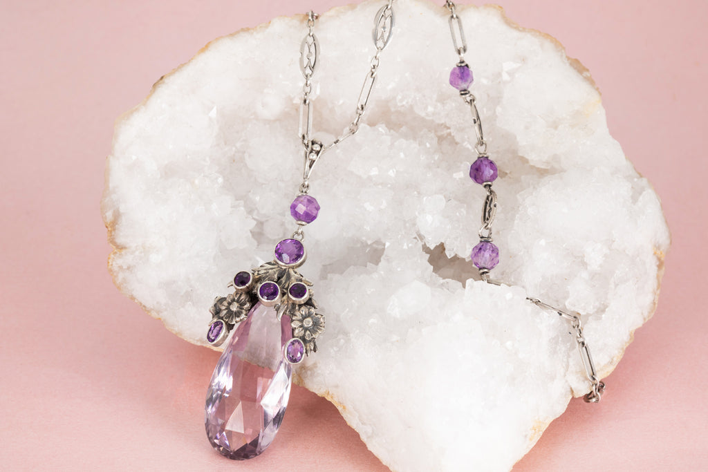 "Long Rare Arts and Crafts Silver Amethyst Rock Crystal Necklace, 44"" (30.1g)"
