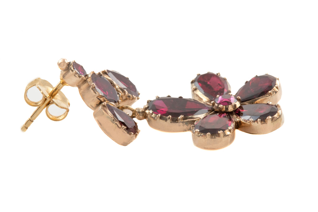 Georgian 10ct Gold Garnet Pansy Drop Earrings, (5.20ct)