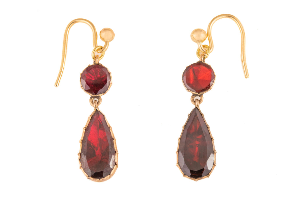 Georgian Gold Garnet Tear Drop Earrings (3.00ct)