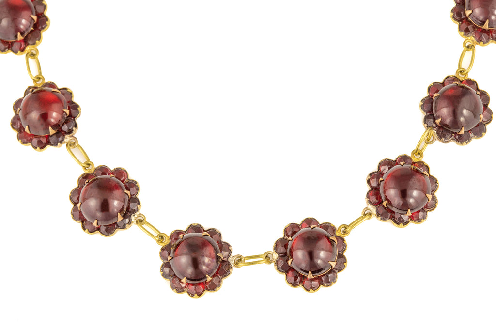 "Victorian Garnet Glass Floral Necklace, 16 & 1/2"" (51.1g)"