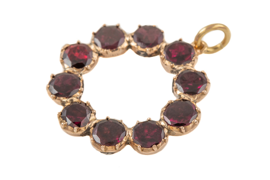 Antique Gold Flat Cut Garnet Roundel Pendant